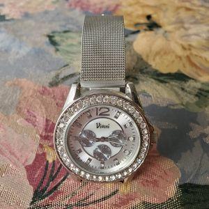 EUC! Vivani Silver Rhinestone Watch